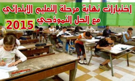 الحل النموذجي لشهادة التعليم الابتدائي 2015